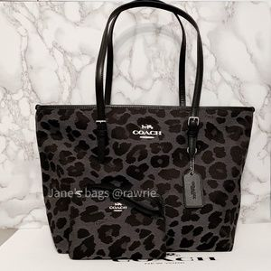 New Coach Leopard Tote & Matching Wristlet Set